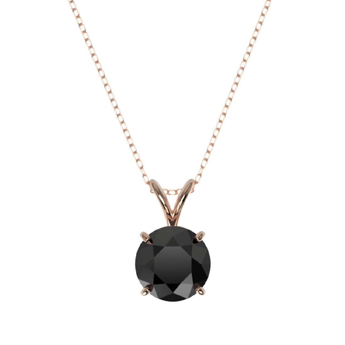 1.59 CTW Fancy Black VS Diamond Solitaire Necklace Gold - 3