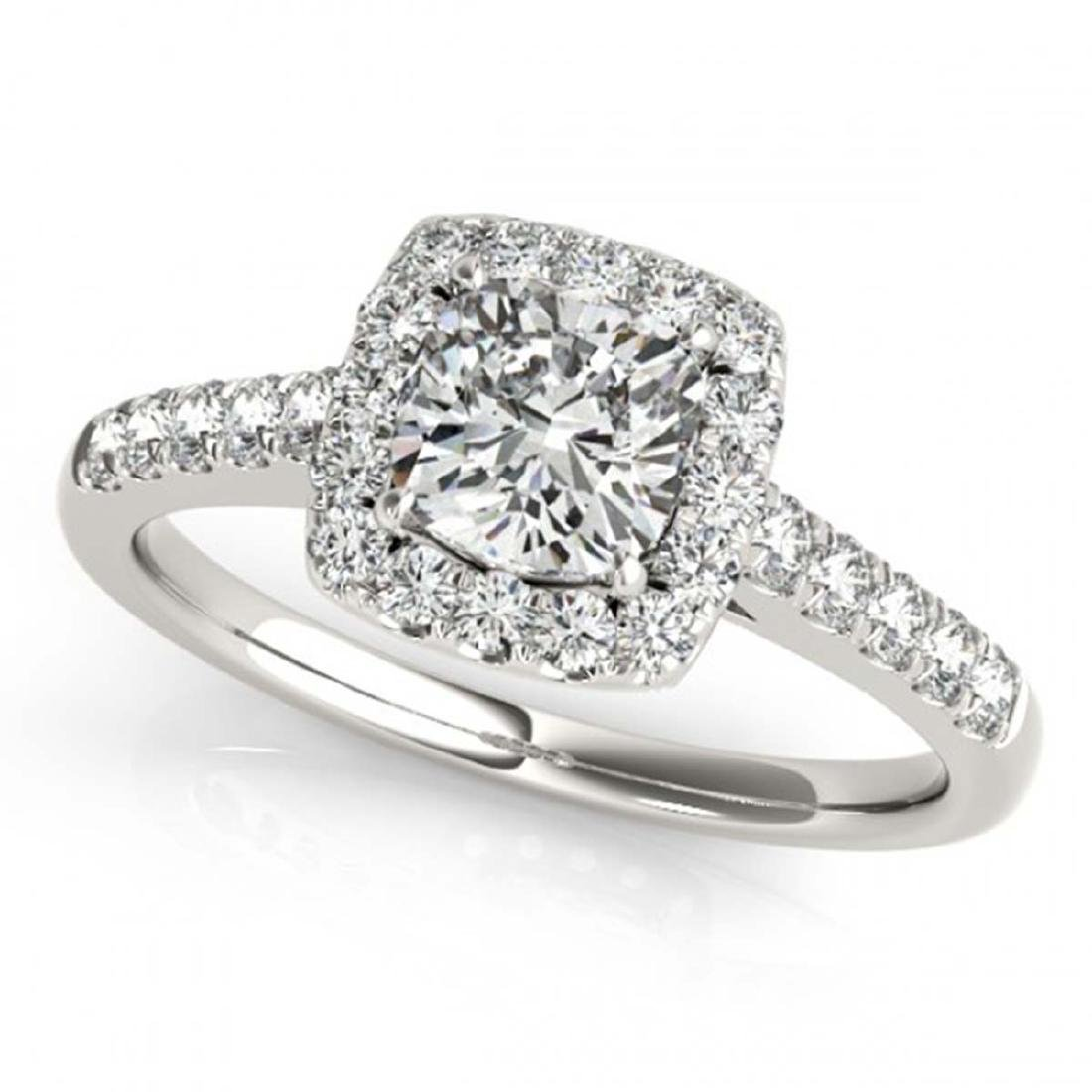 1.45 CTW VS/SI Cushion Diamond Solitaire Halo Ring 14K