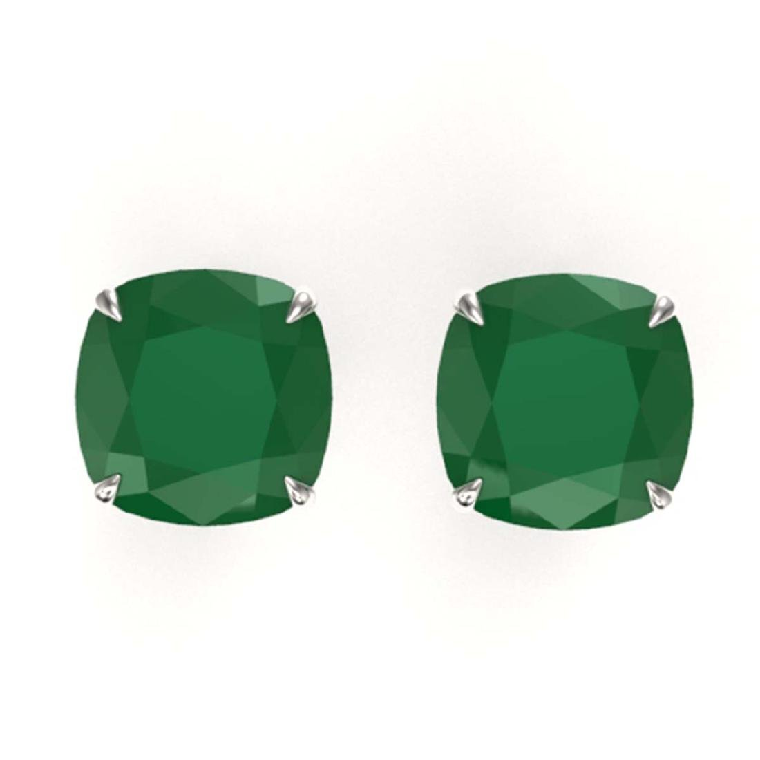12 CTW Cushion Cut Emerald Solitaire Stud Earrings 18K