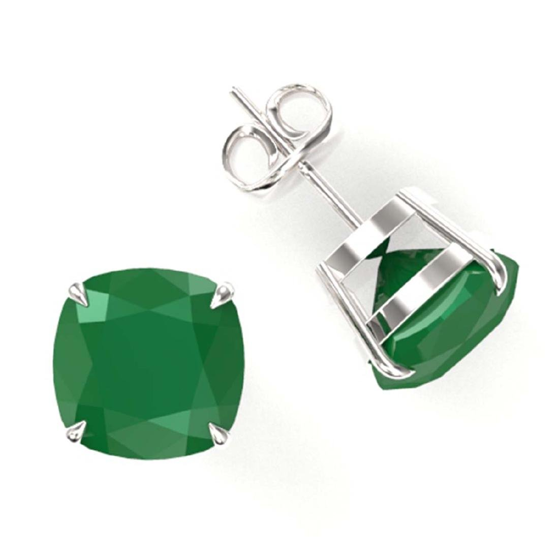 12 CTW Cushion Cut Emerald Solitaire Stud Earrings 18K - 2