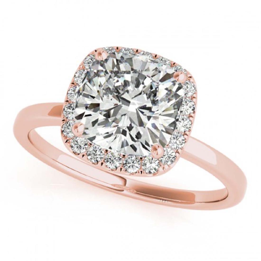 0.62 CTW VS/SI Cushion Diamond Solitaire Halo Ring 14K