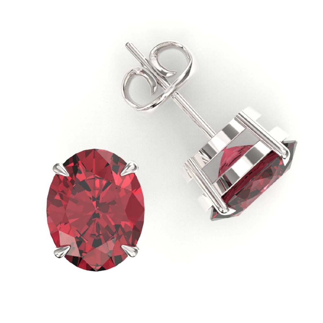 5.50 CTW Pink Tourmaline Solitaire Stud Earrings 18K - 2