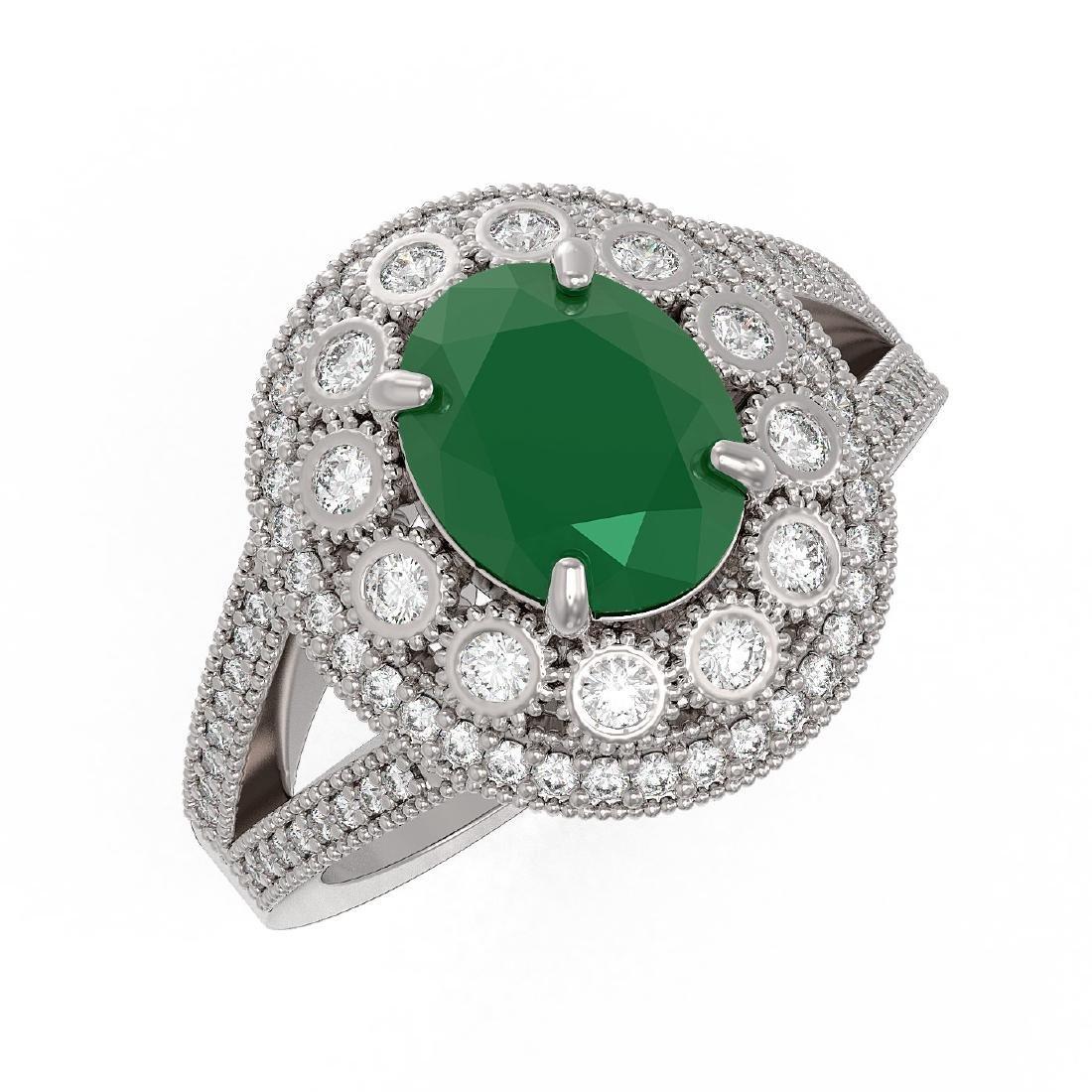 4.55 ctw Emerald & Diamond Ring 14K White Gold -