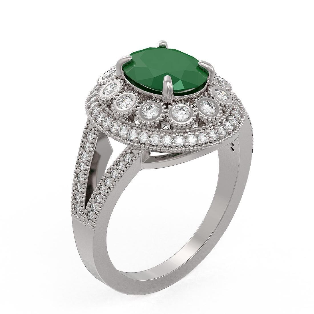 4.55 ctw Emerald & Diamond Ring 14K White Gold - - 2