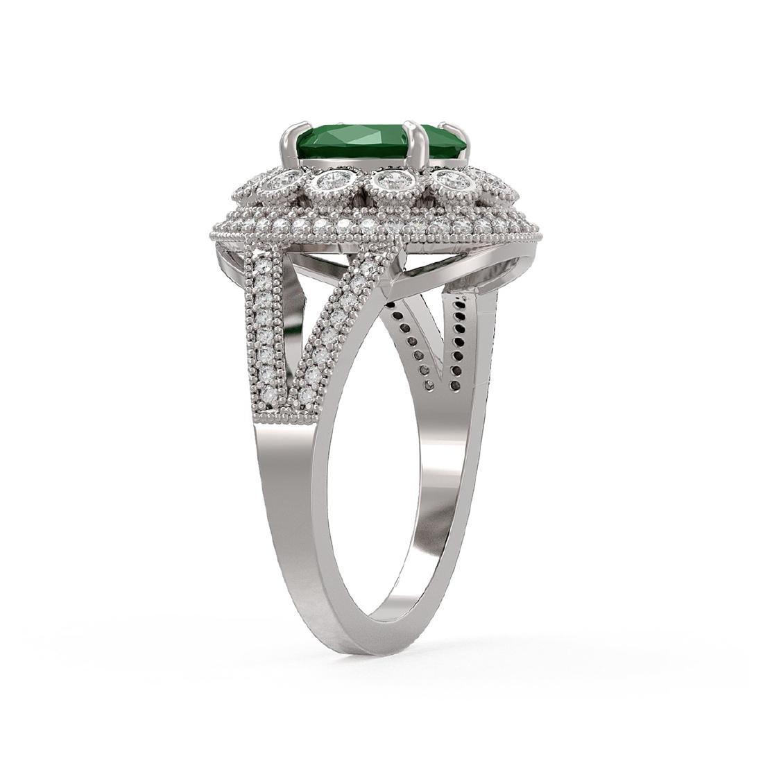 4.55 ctw Emerald & Diamond Ring 14K White Gold - - 3