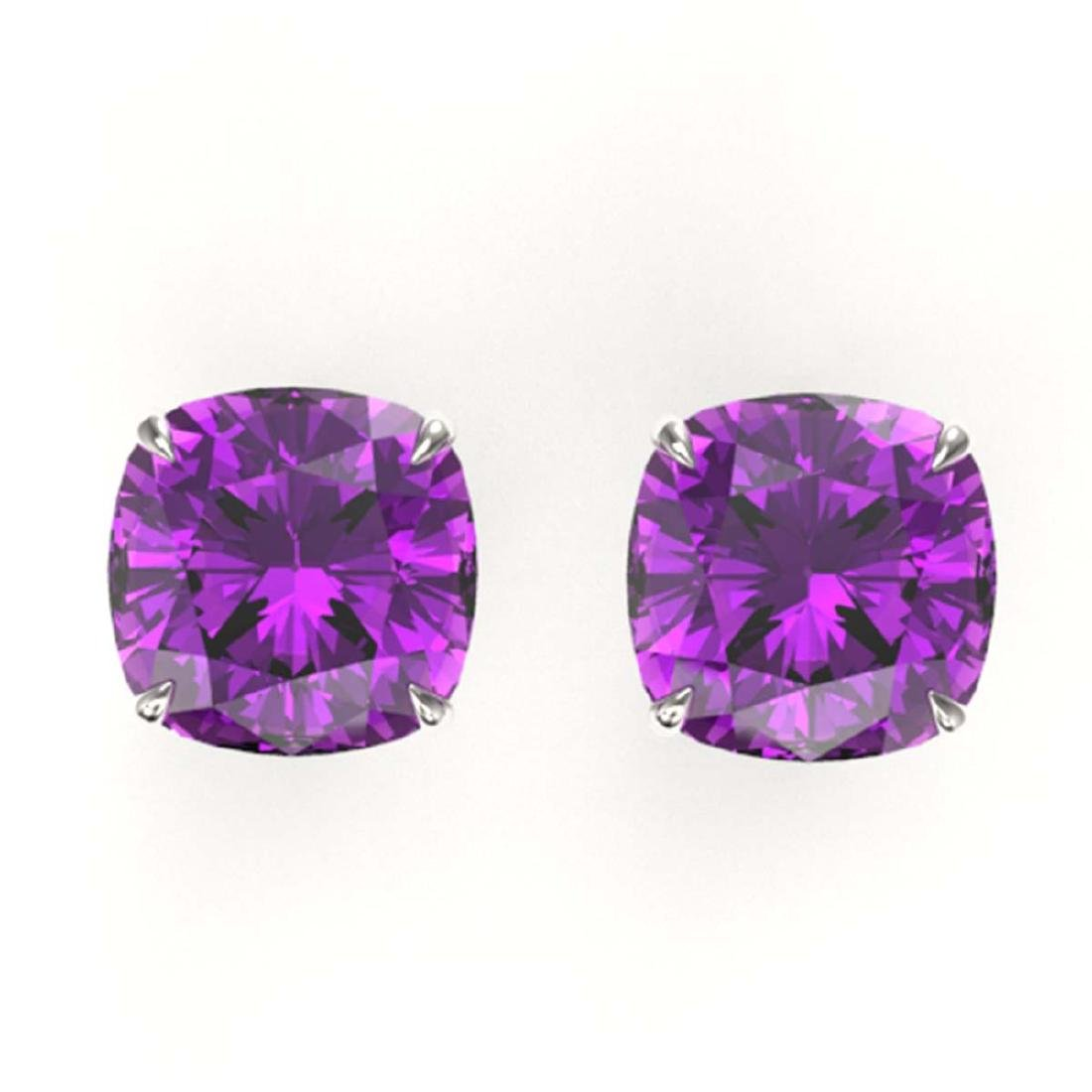 12 ctw Cushion Cut Amethyst Stud Earrings 18K White
