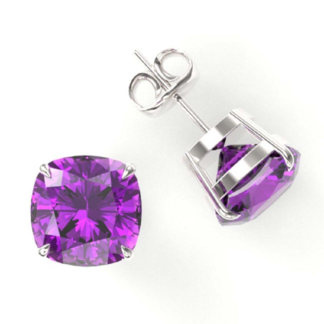 12 ctw Cushion Cut Amethyst Stud Earrings 18K White - 2