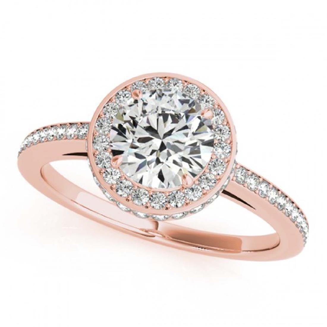 1.25 ctw VS/SI Diamond Solitaire Halo Ring 14K Rose - 2