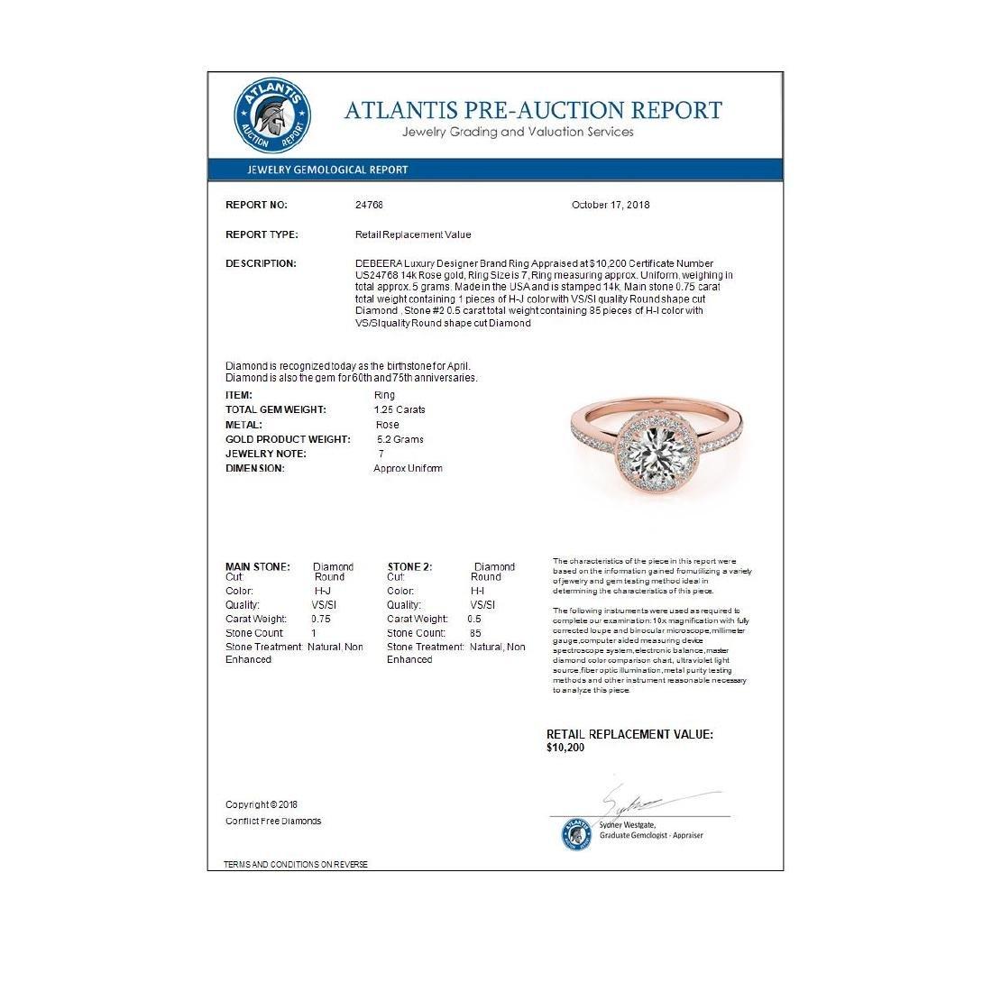1.25 ctw VS/SI Diamond Solitaire Halo Ring 14K Rose - 4