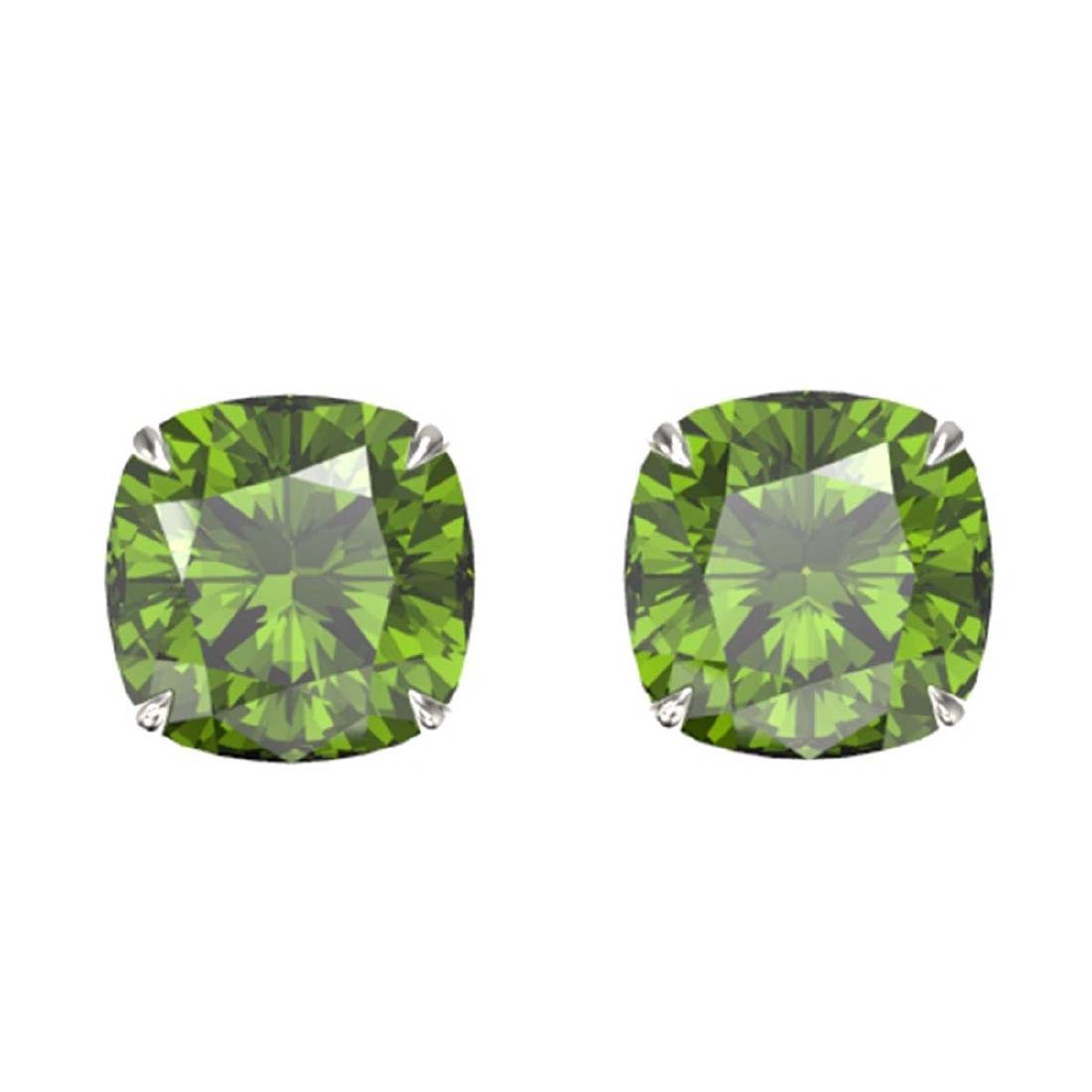 12 ctw Cushion Green Tourmaline Stud Earrings 18K White