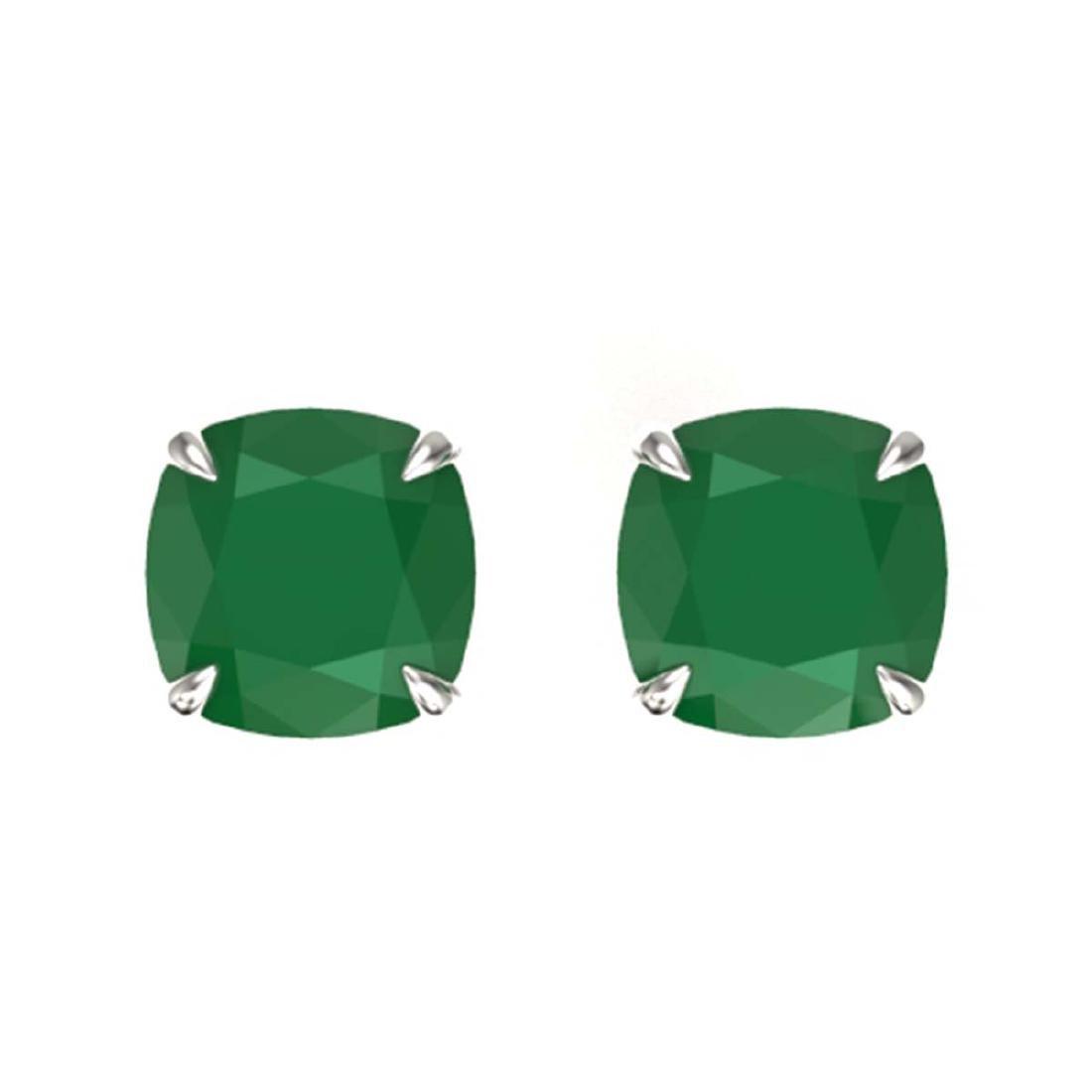4 ctw Cushion Cut Emerald Stud Earrings 18K White Gold