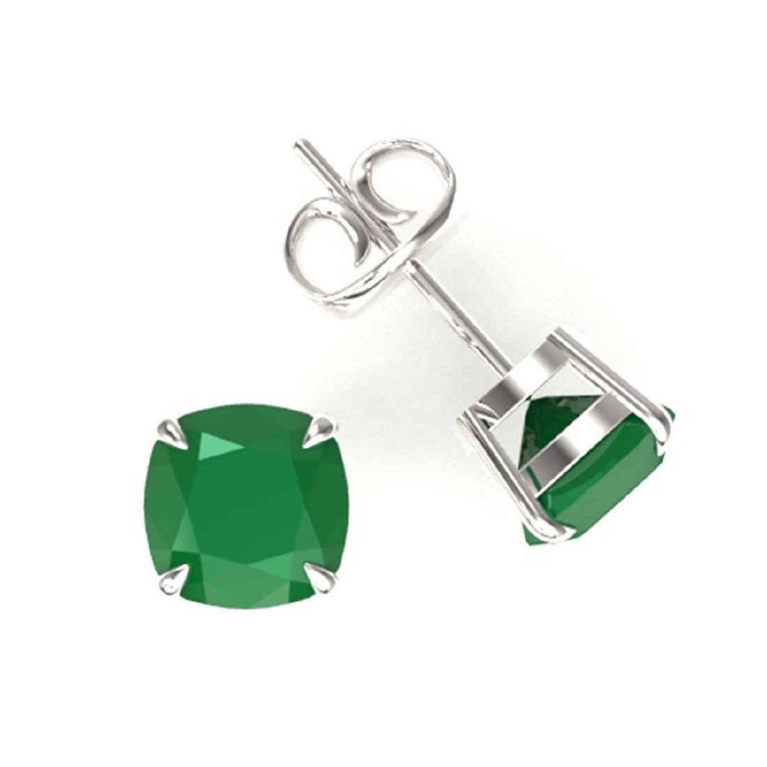4 ctw Cushion Cut Emerald Stud Earrings 18K White Gold - 2