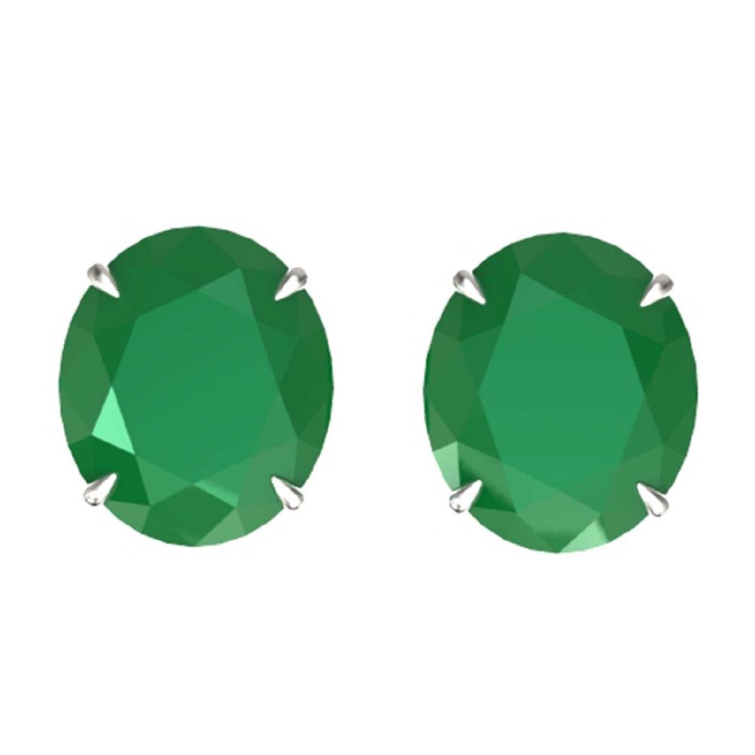 18 ctw Emerald Solitaire Stud Earrings 18K White Gold -