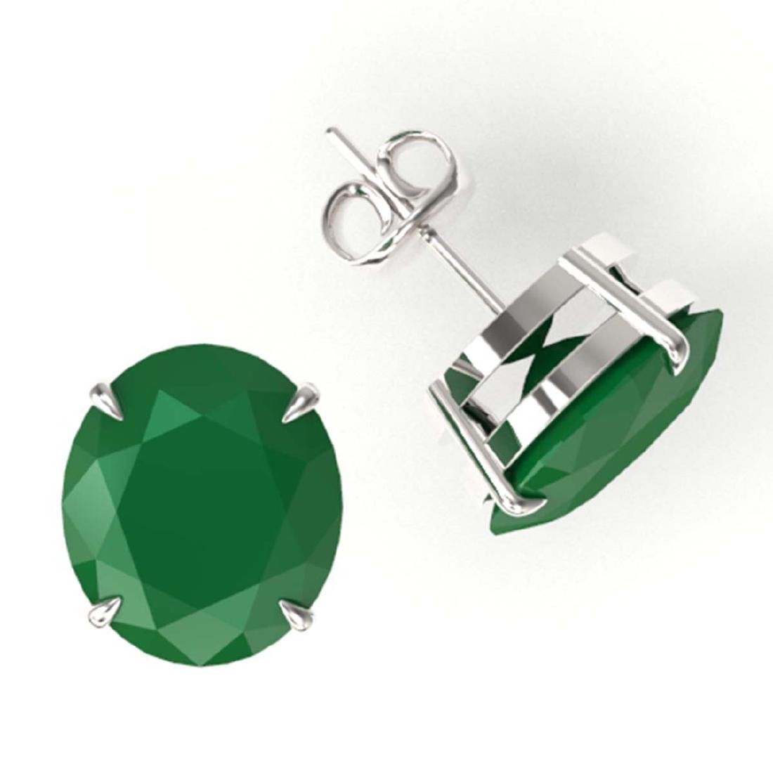 18 ctw Emerald Solitaire Stud Earrings 18K White Gold - - 2