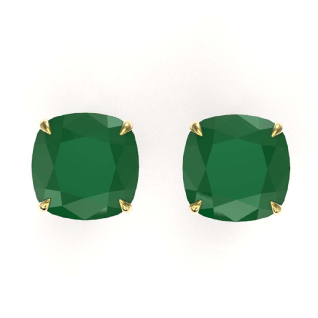 12 ctw Cushion Cut Emerald Stud Earrings 18K Yellow