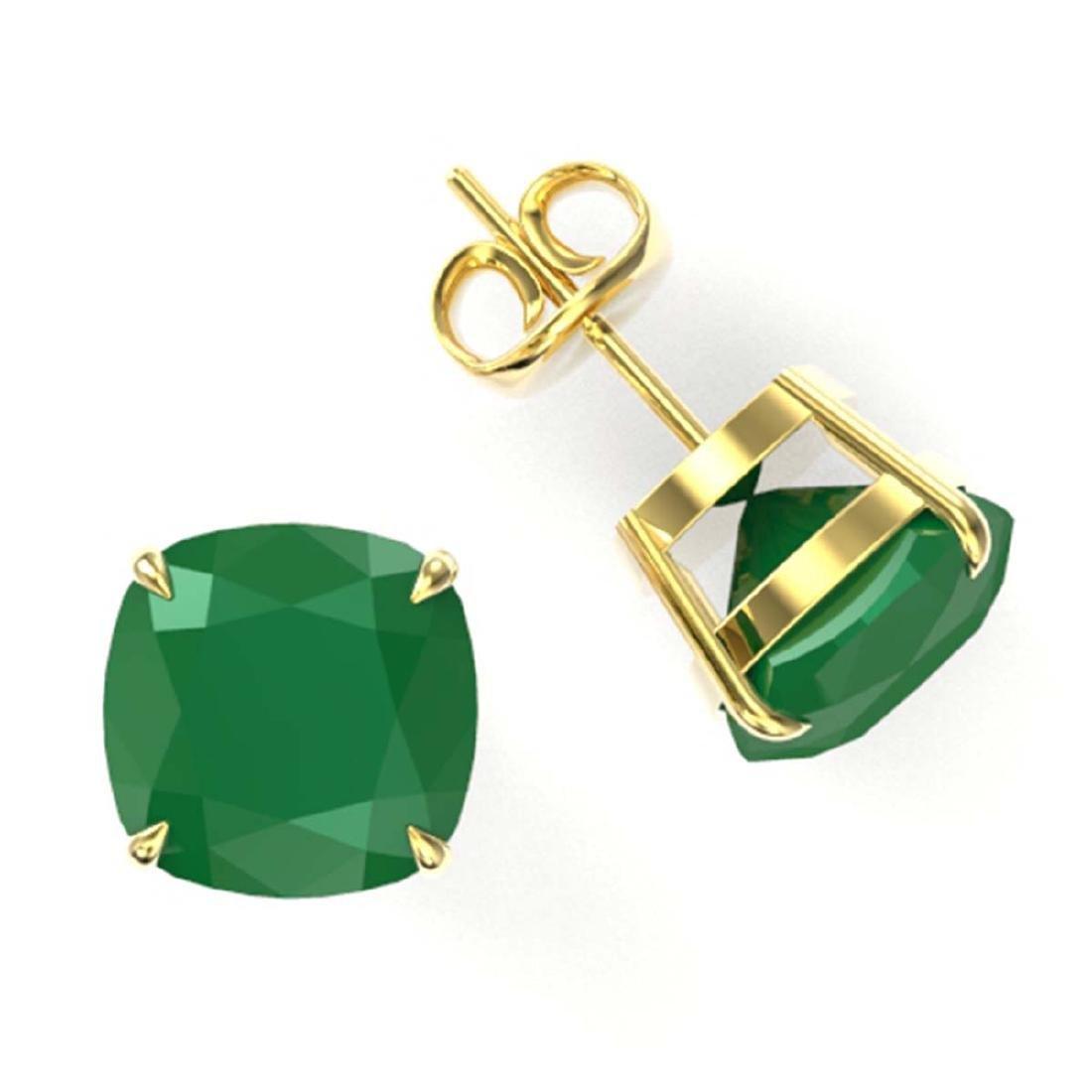 12 ctw Cushion Cut Emerald Stud Earrings 18K Yellow - 2