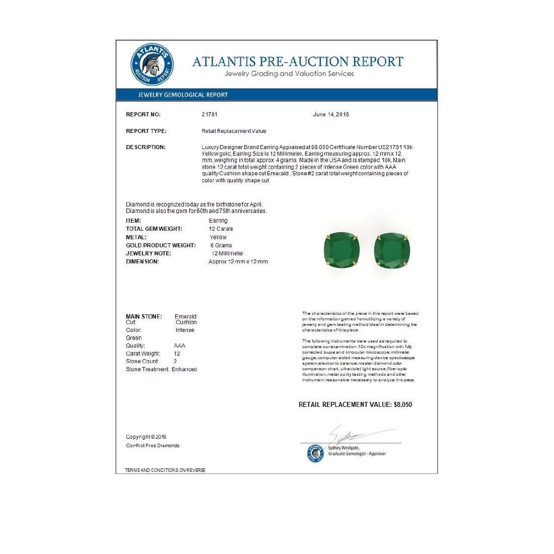 12 ctw Cushion Cut Emerald Stud Earrings 18K Yellow - 3