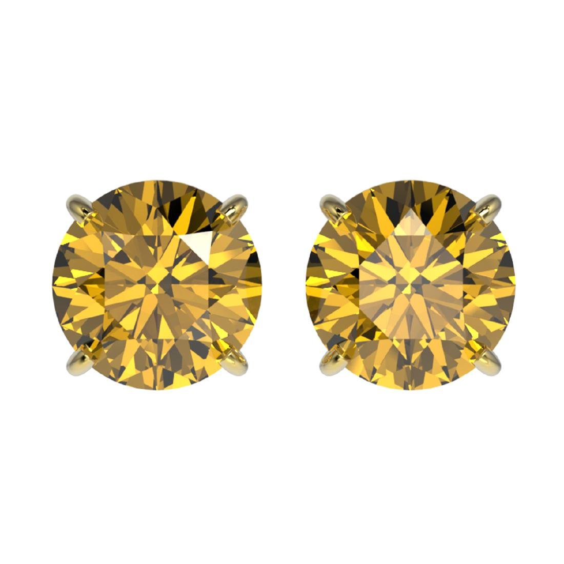 2 ctw Intense Yellow Diamond Stud Earrings 10K Yellow