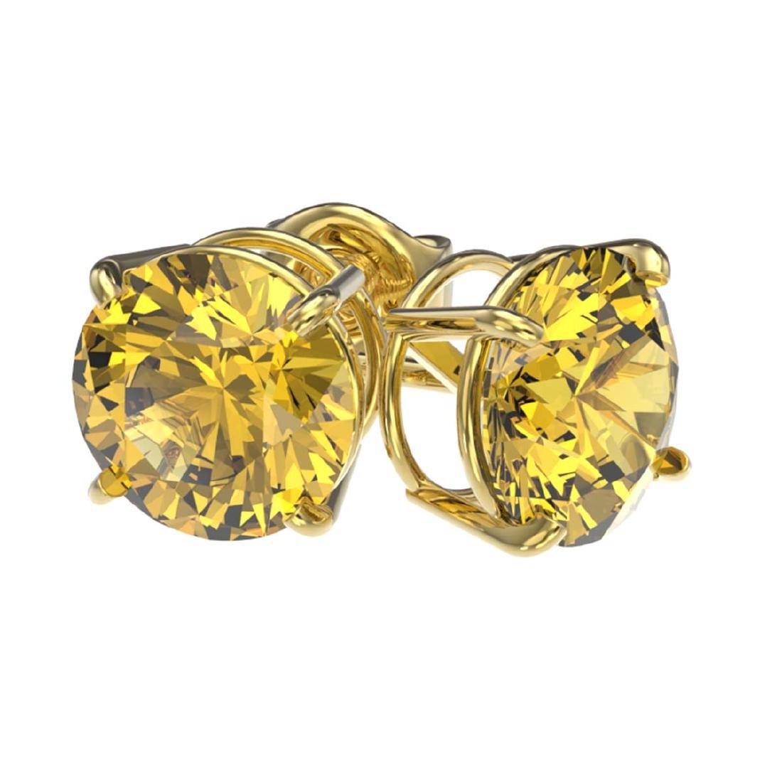 2 ctw Intense Yellow Diamond Stud Earrings 10K Yellow - 3