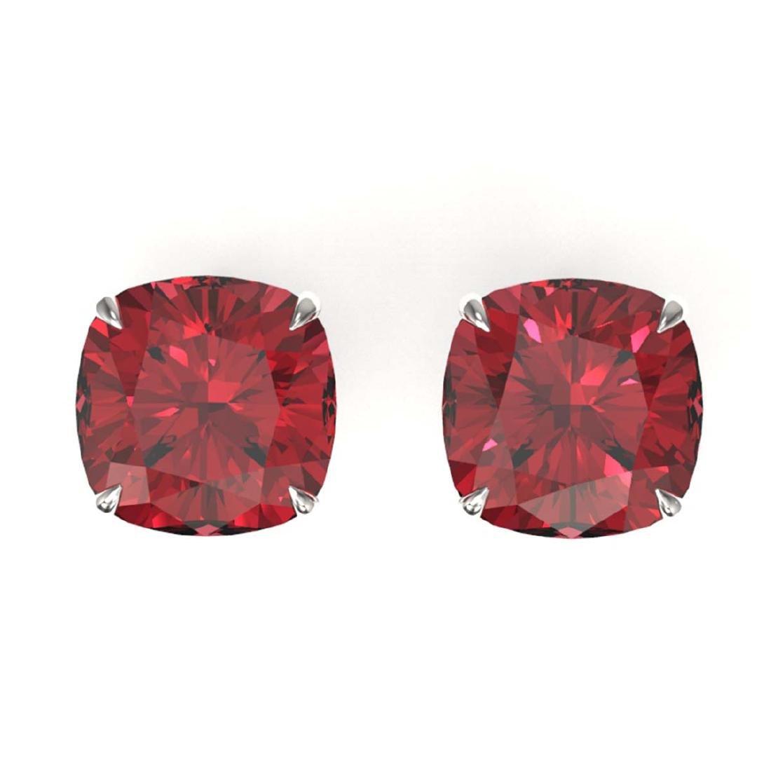 8 ctw Cushion Cut Pink Tourmaline Stud Earrings 18K