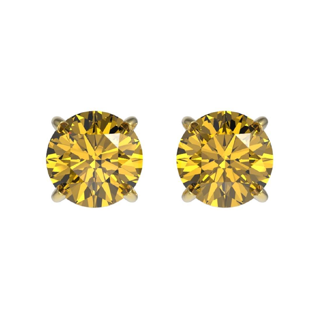 1 ctw Intense Yellow Diamond Stud Earrings 10K Yellow