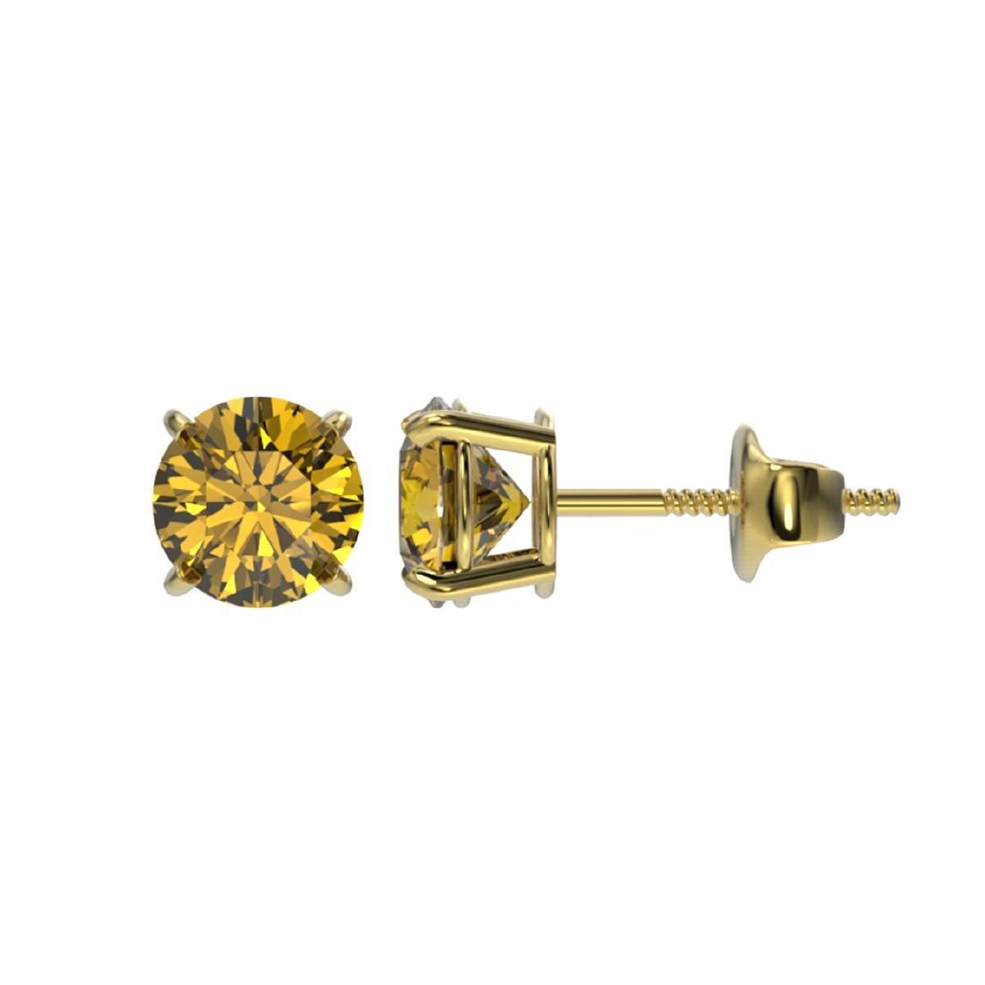 1 ctw Intense Yellow Diamond Stud Earrings 10K Yellow - 2