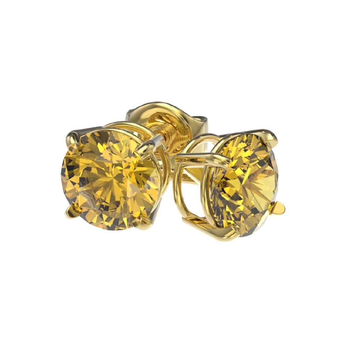 1 ctw Intense Yellow Diamond Stud Earrings 10K Yellow - 3
