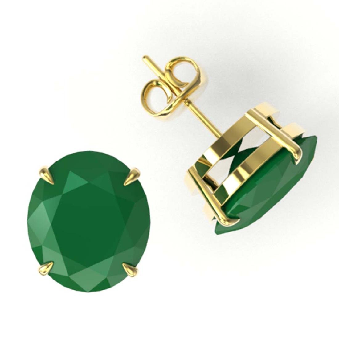 18 ctw Emerald Solitaire Stud Earrings 18K Yellow Gold - 2