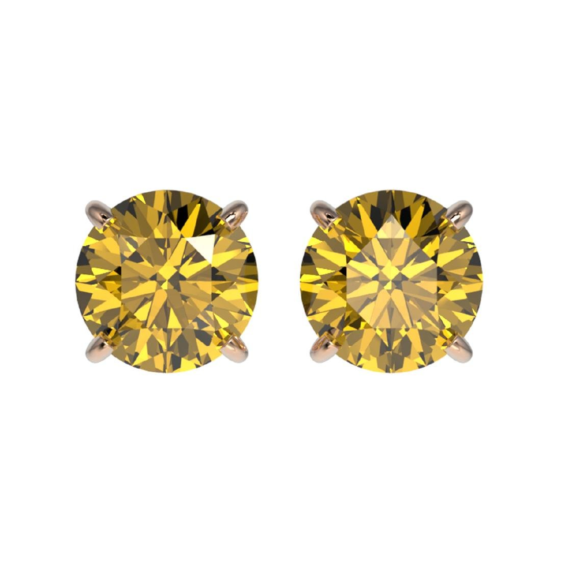 1.54 ctw Intense Yellow Diamond Stud Earrings 10K Rose