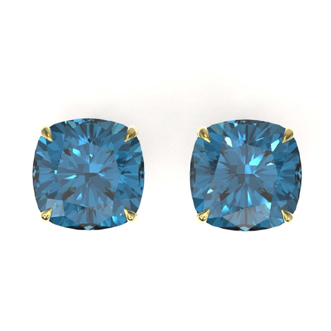 12 ctw Cushion London Blue Topaz Stud Earrings 18K