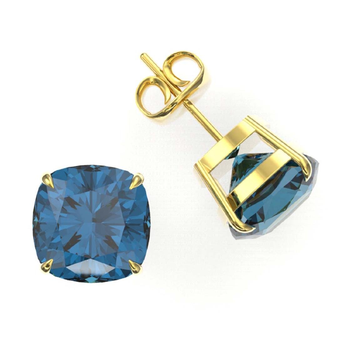 12 ctw Cushion London Blue Topaz Stud Earrings 18K - 2