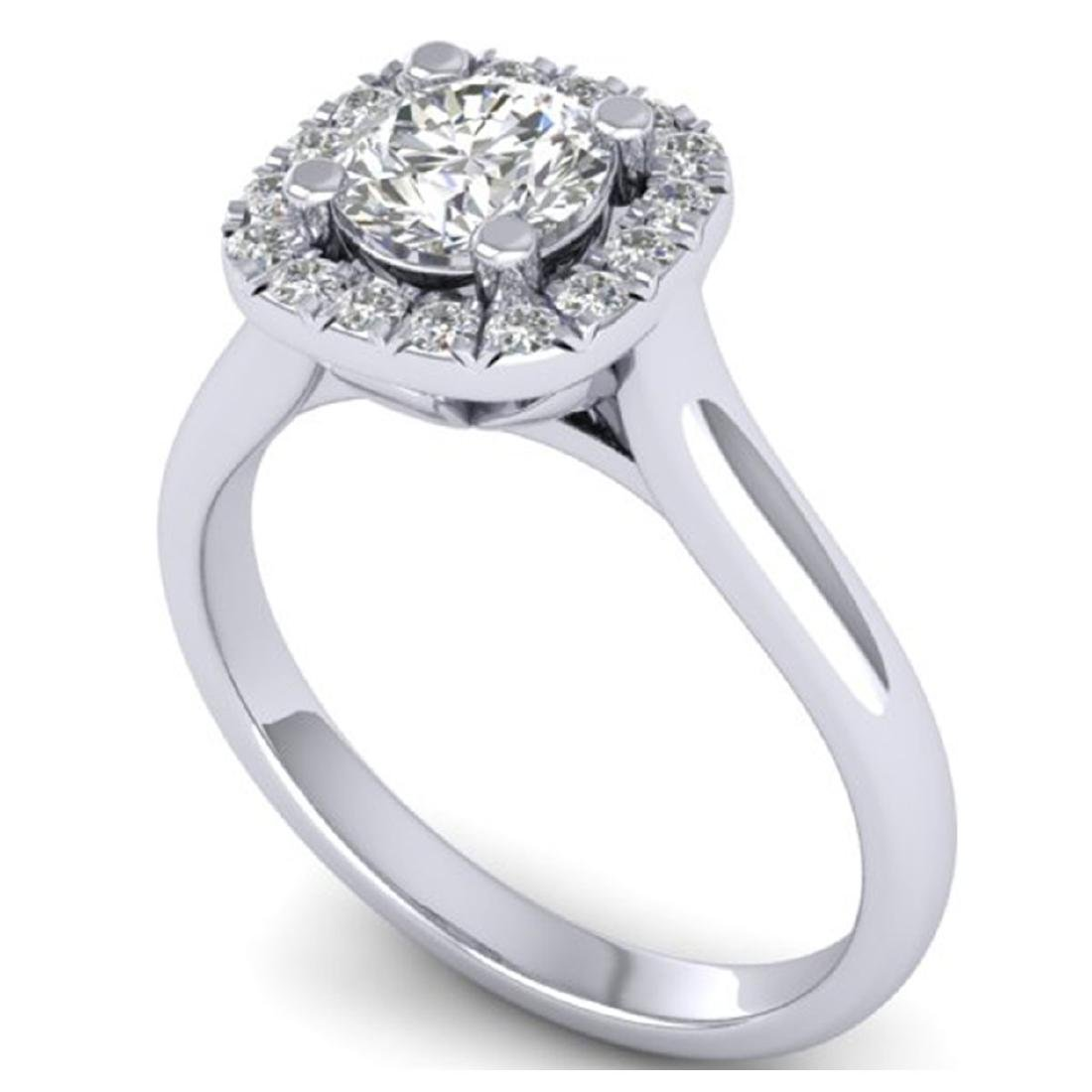 1.01 ctw VS/SI Diamond Solitaire Halo Ring 18K White - 2
