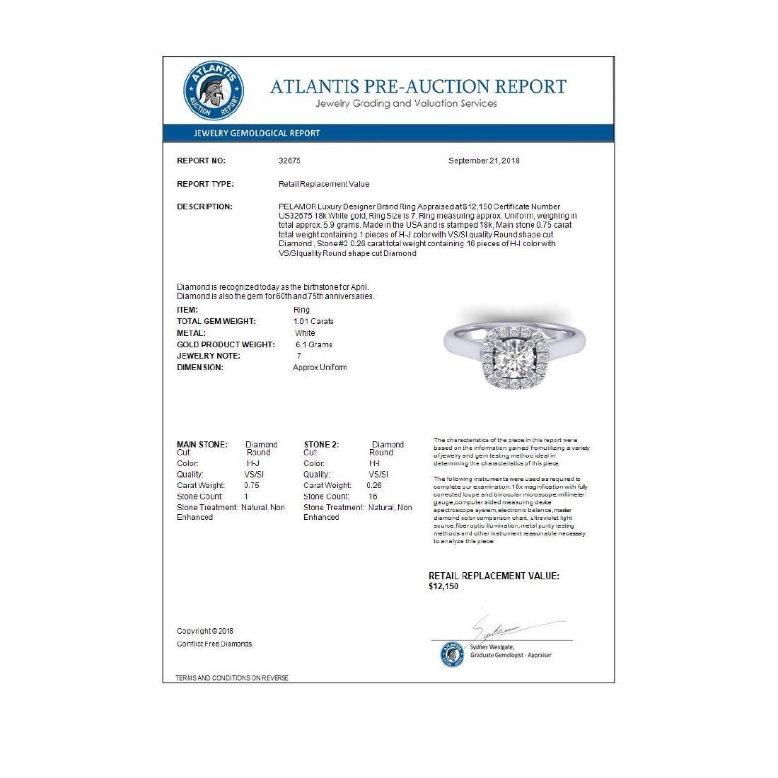 1.01 ctw VS/SI Diamond Solitaire Halo Ring 18K White - 4