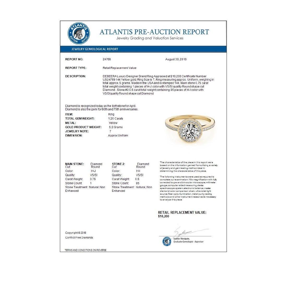 1.25 ctw VS/SI Diamond Solitaire Halo Ring 14K Yellow - 4