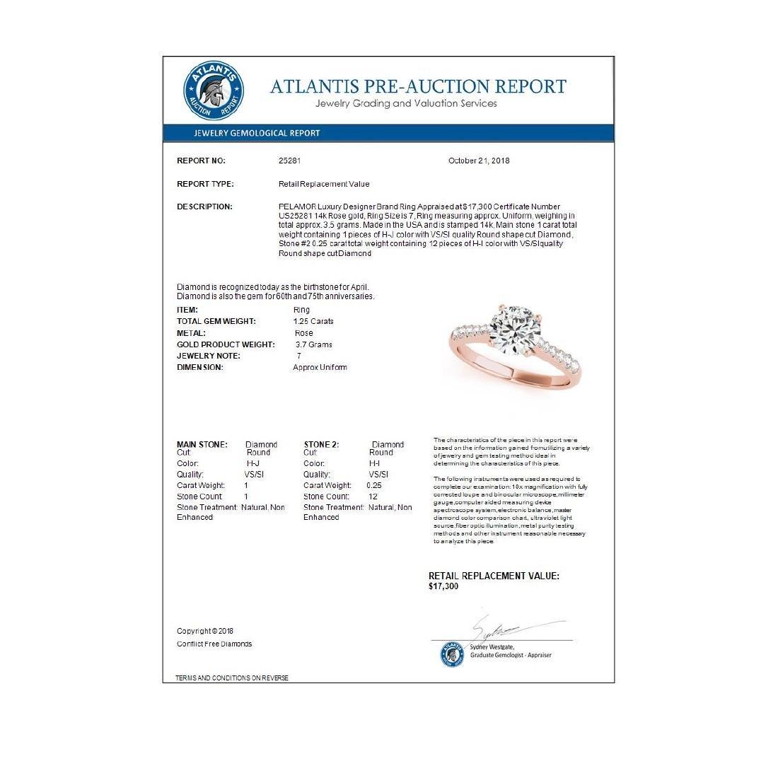 1.25 ctw VS/SI Diamond Solitaire Ring 14K Rose Gold - - 3