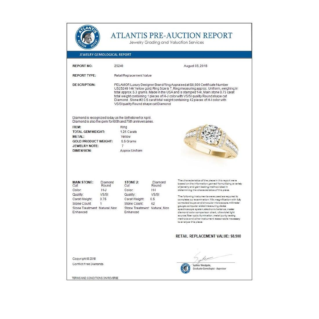 1.25 ctw VS/SI Diamond Solitaire Ring 14K Yellow Gold - - 3