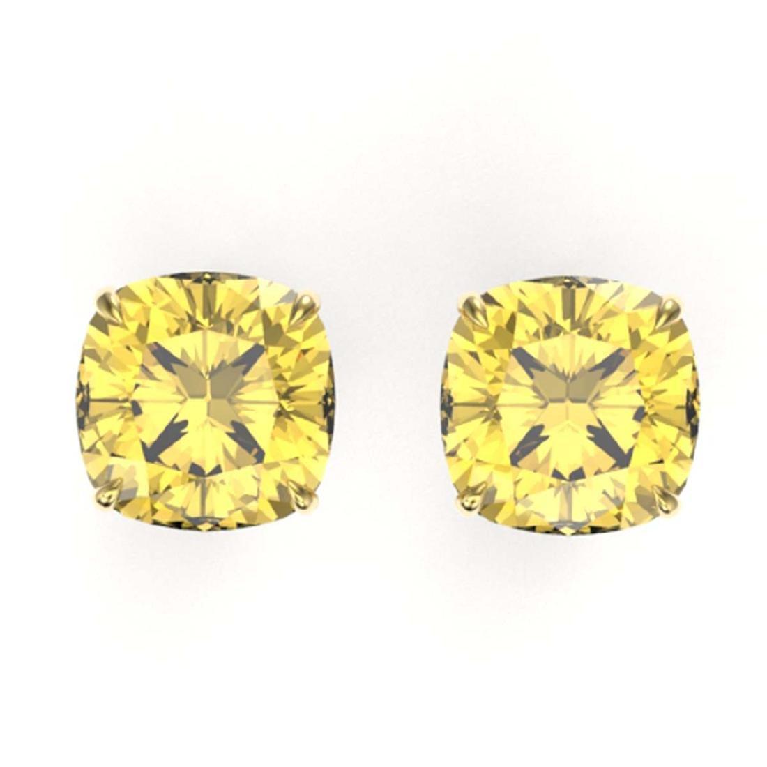 12 ctw Cushion Cut Citrine Stud Earrings 18K Yellow