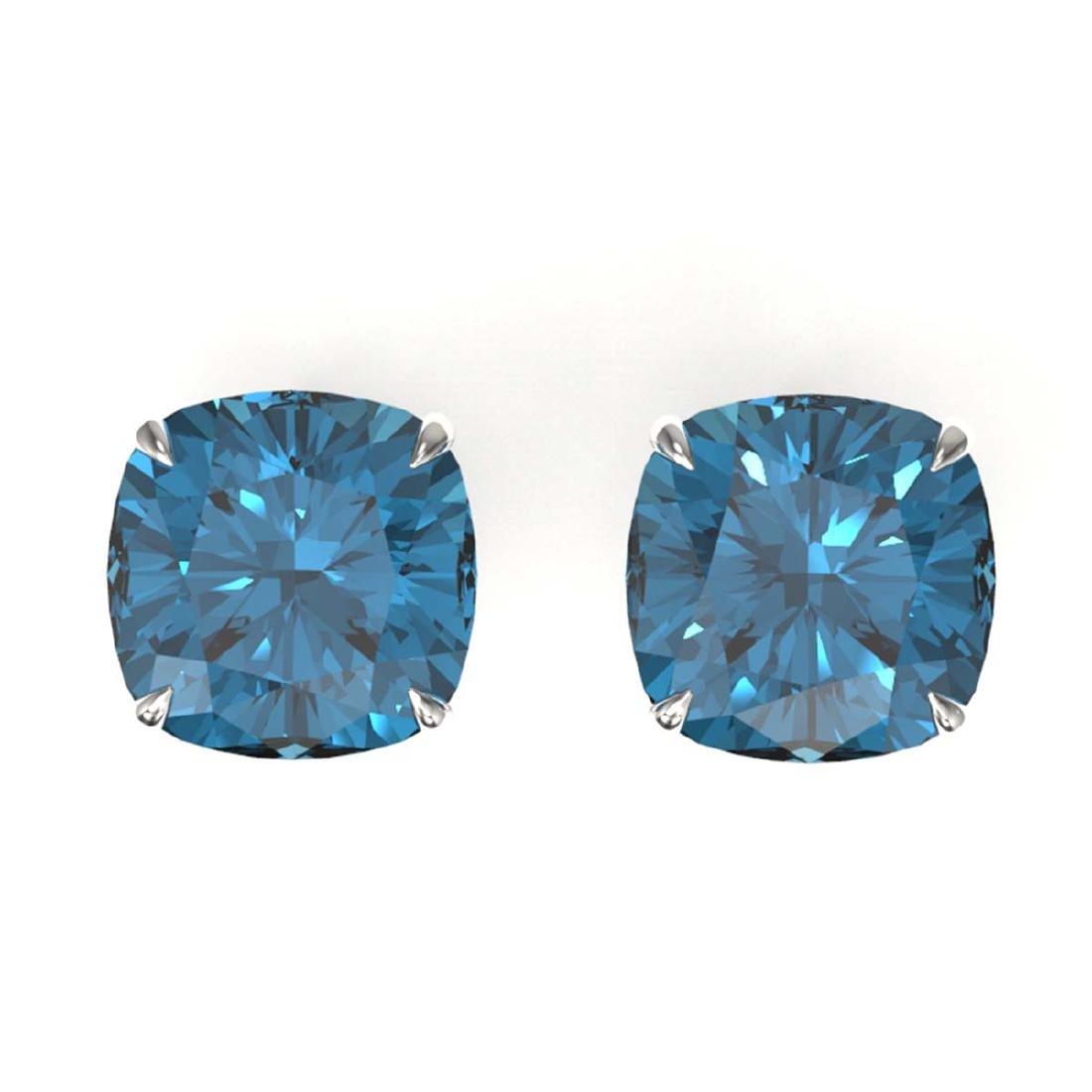12 ctw Cushion London Blue Topaz Stud Earrings 18K