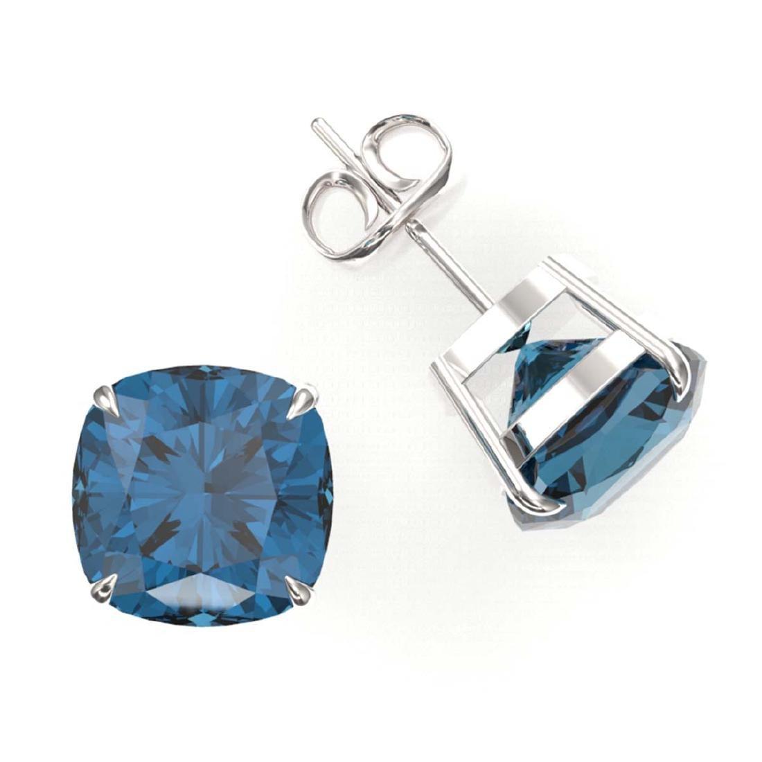 12 ctw Cushion London Blue Topaz Stud Earrings 18K - 2