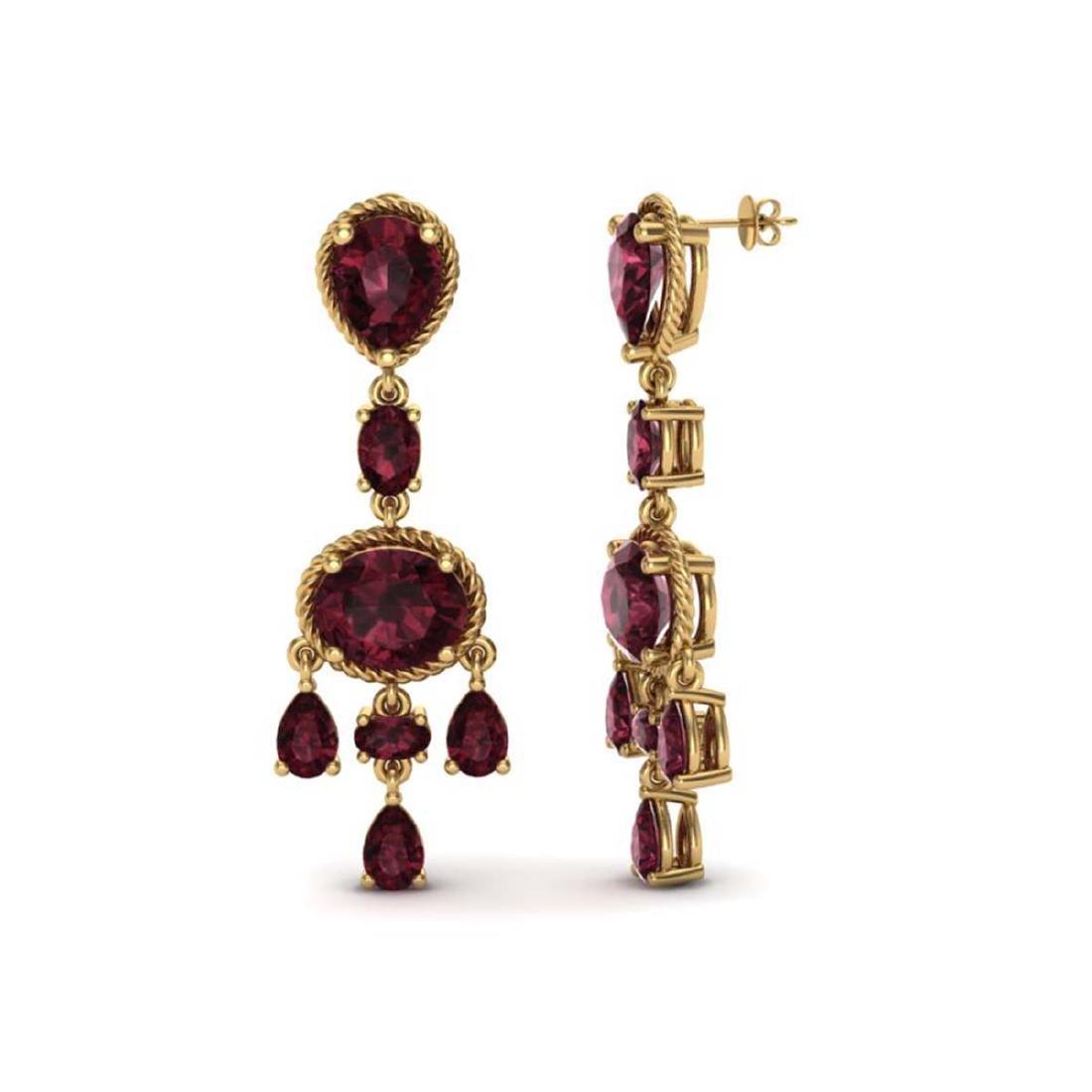 16 ctw Garnet Earrings Vintage  10K Yellow Gold - - 2