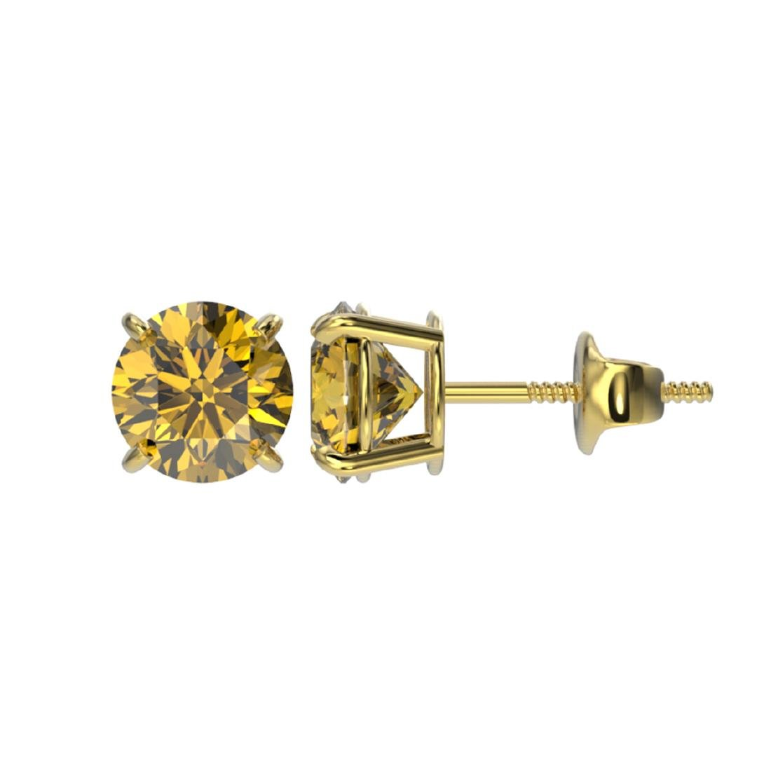 1.54 ctw Intense Yellow Diamond Stud Earrings 10K - 2