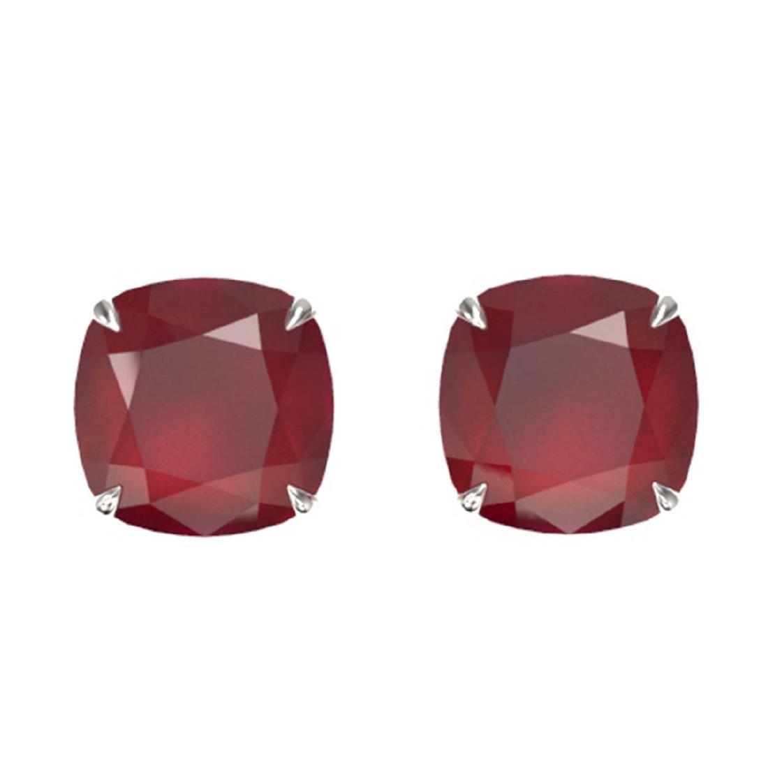 12 ctw Cushion Cut Ruby Stud Earrings 18K White Gold -