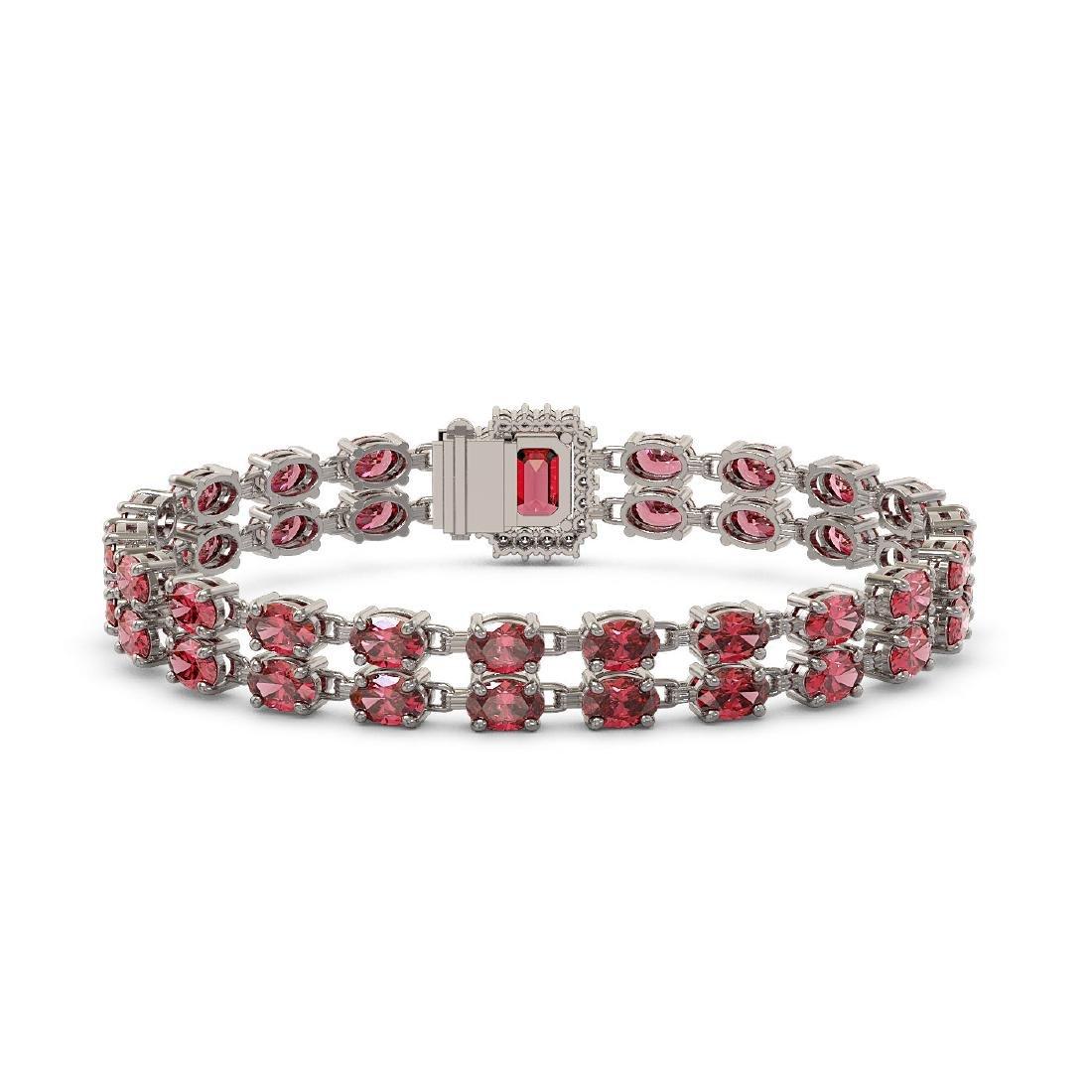 16.97 ctw Tourmaline & Diamond Bracelet 14K White Gold - 3