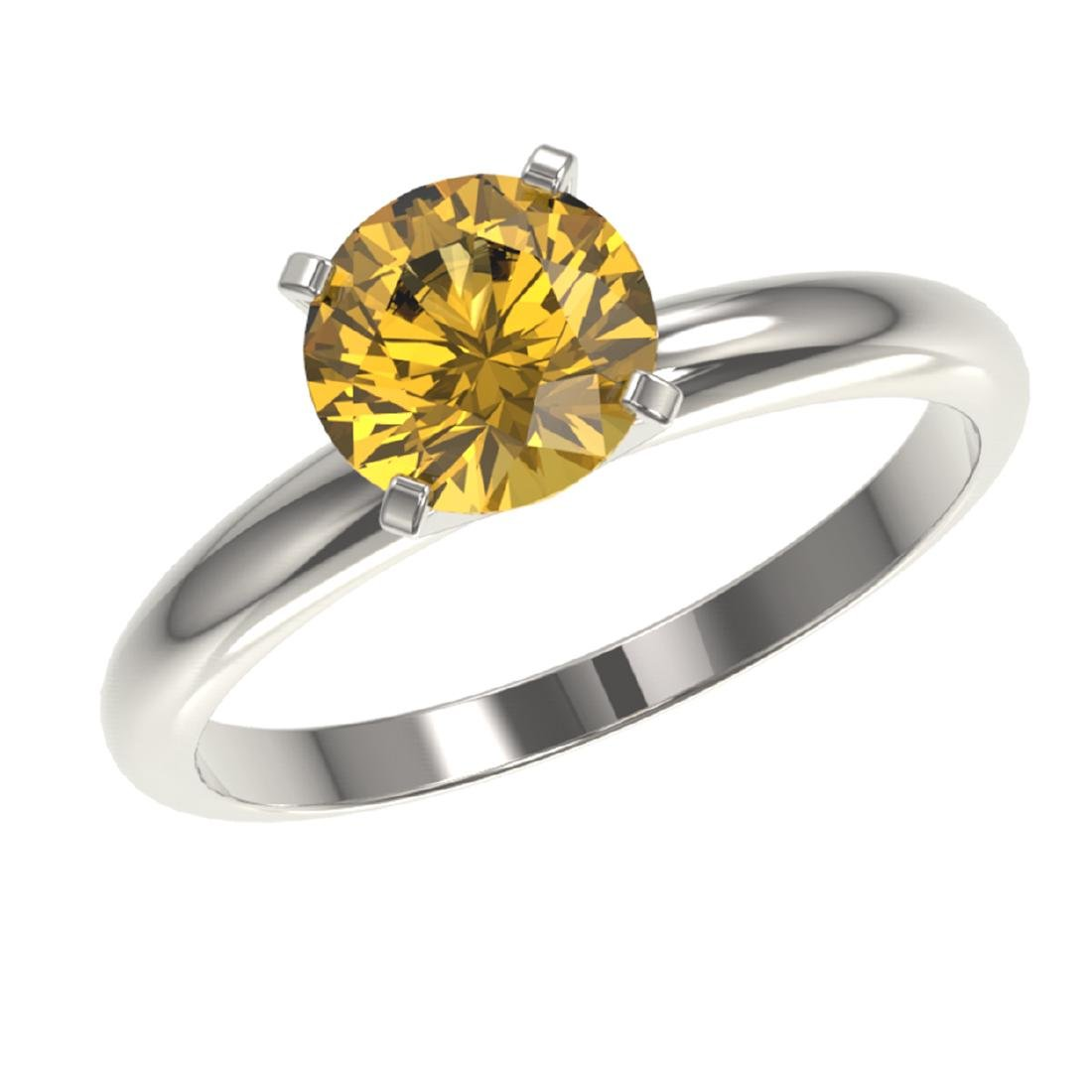1.50 ctw Intense Yellow Diamond Solitaire Ring 10K - 2