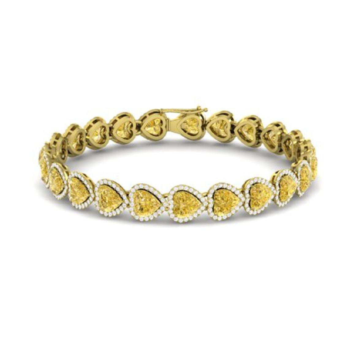 23 ctw Citrine & Bracelet Heart Halo 14K Yellow Gold - - 2