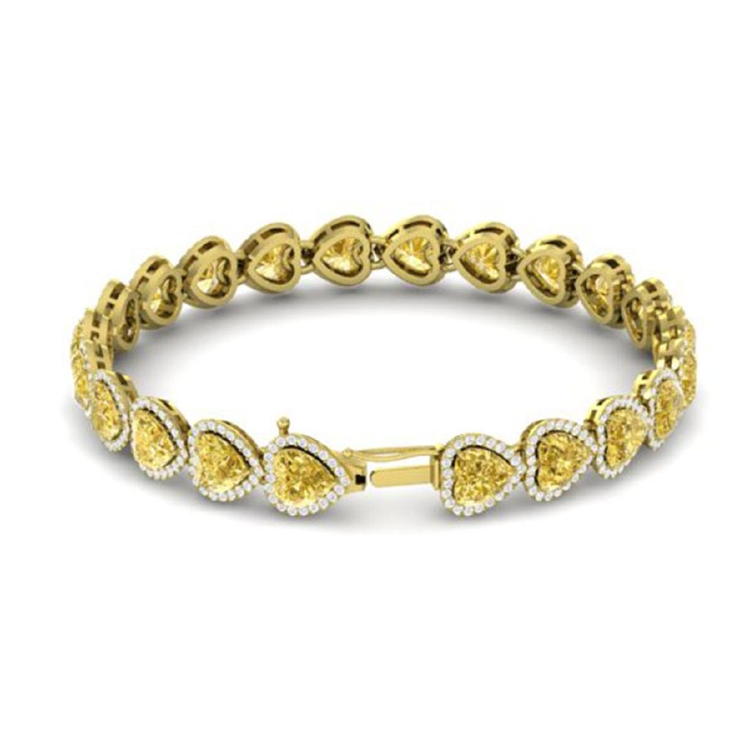 23 ctw Citrine & Bracelet Heart Halo 14K Yellow Gold - - 3