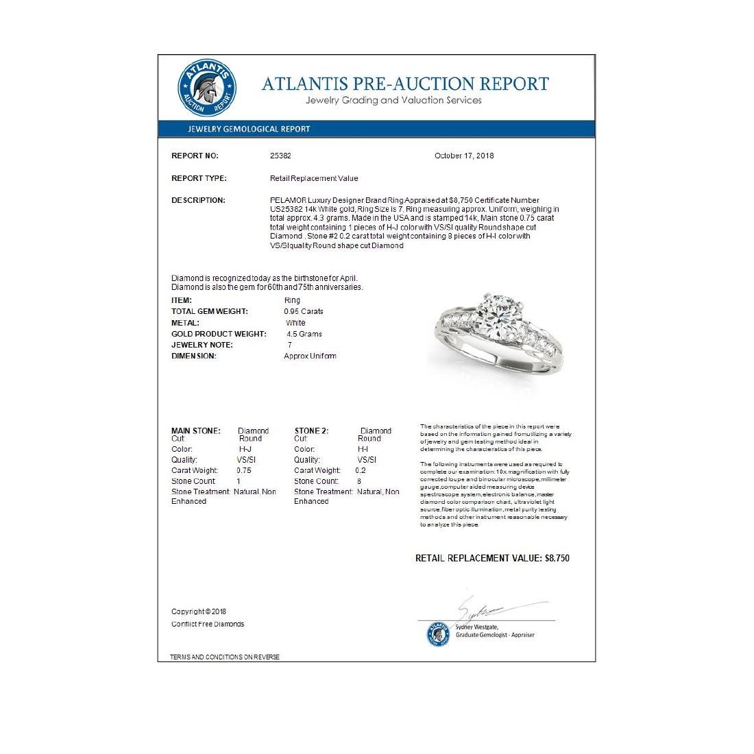 0.95 ctw VS/SI Diamond Solitaire Ring 14K White Gold - - 3