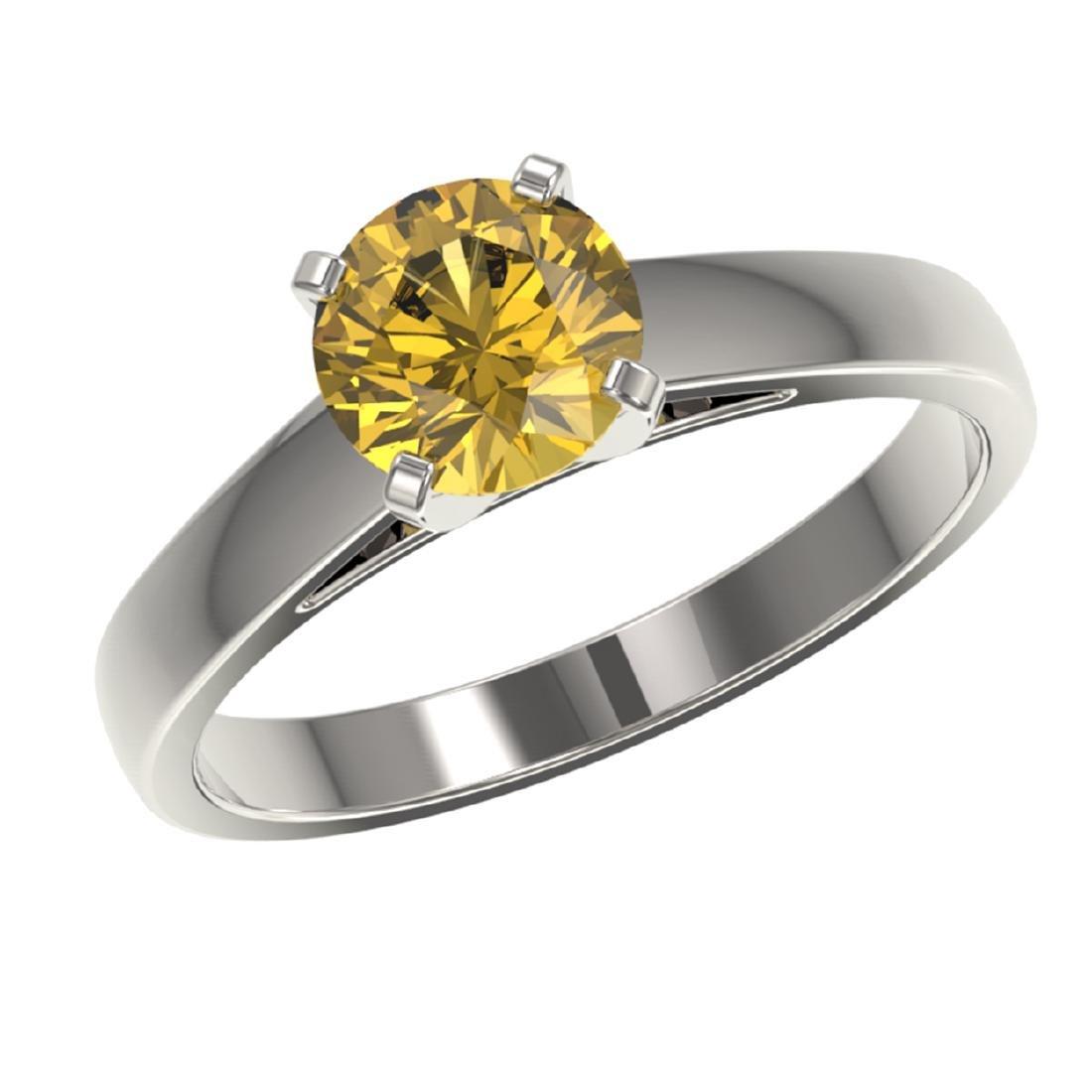 1.29 ctw Intense Yellow Diamond Solitaire Ring 10K - 2