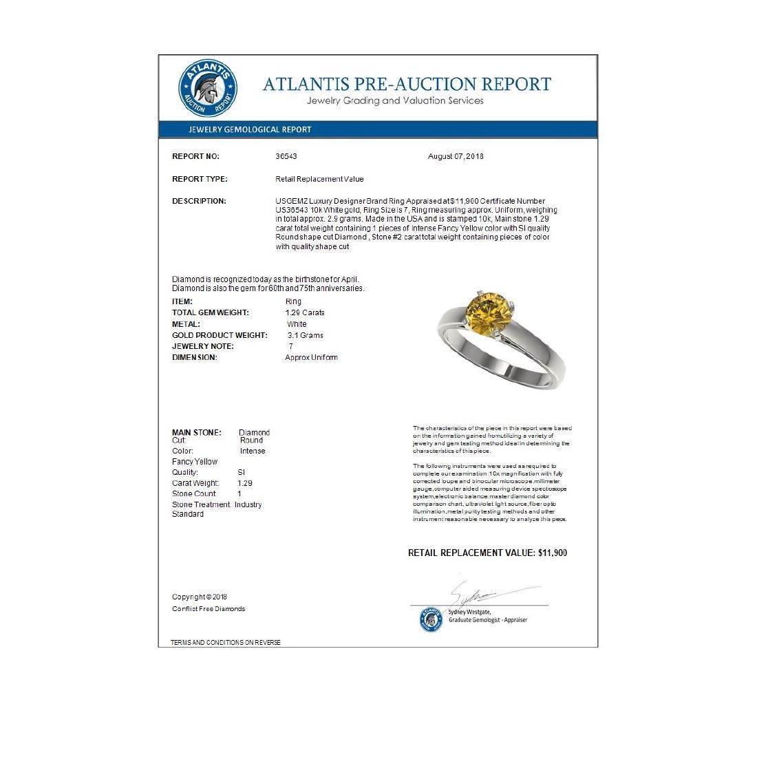 1.29 ctw Intense Yellow Diamond Solitaire Ring 10K - 4