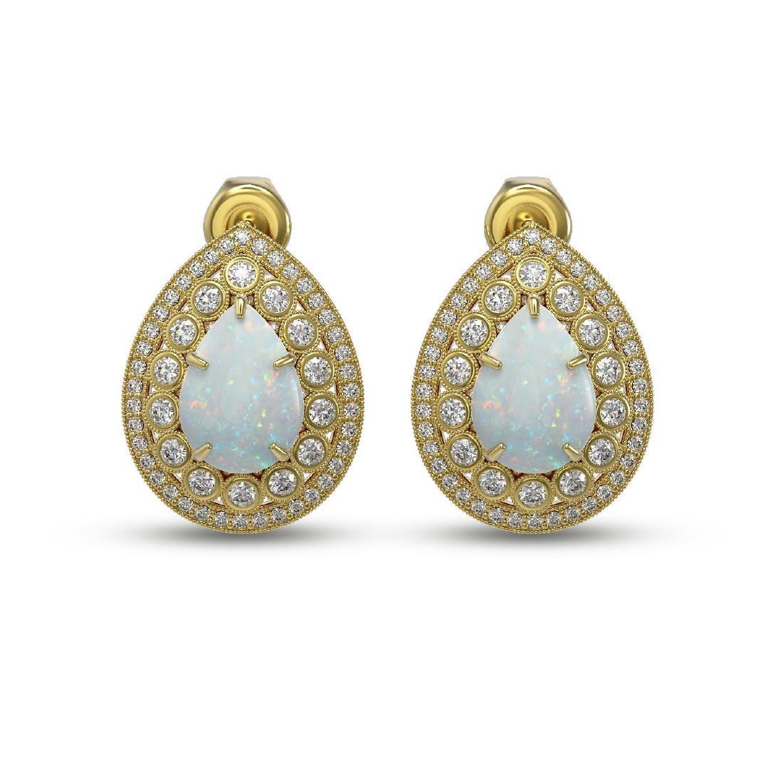 7.88 ctw Opal & Diamond Earrings 14K Yellow Gold -